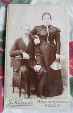 Photographie ancienne 1895 couple éventail costume Photographe Klenscki Paris