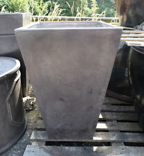 80cm CLEARANCE Faux Lead Fibreclay Tall Square Planter/Tapered Plant Pot