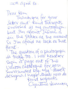 Cynthia Lennon - First Wife Of John Lennon 'The Beatles' Hand Signed Letter.