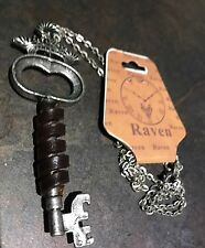 Steampunk Antique Style Gunmetal Key Accessory On Chain Raven