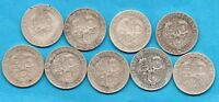 9 VICTORIAN SILVER SHILLING COINS 1893 - 1901. VICTORIA VEILED HEAD 1/-. JOB LOT