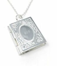 925 Silver Plt Open Novel Book Photo Picture Locket Pendant Necklace Ladies a