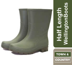 Town & Country Wellington Boots, Outdoor, Half Length - Lightweight PVC - Green