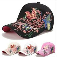 Fashion Flower Butterfly Baseball Cap Woman Embroidery Cotton Snapback Hat Bone