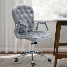 Crystal Button Upholstered Crushed Velvet Home Office Computer Executive Chair