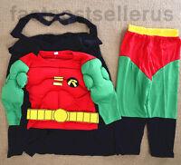 2-7 Robin Batman Boys Kids Muscle Costume Set Halloween Party Dress Up Outfit