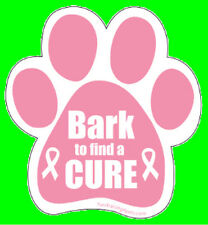 BARK TO FIND A CURE - PINK PAW MAGNET,Dogs Dog Cat Cats Pet  Rescue Charity