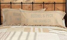 GRACE FEED SACK King Pillow Case Set/2 Blue Grain Sack Stripe Farmhouse VHC