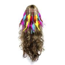 Hippie Boho Women Feather Headband Handmade Weave Feathers Hair Rope Hiairband
