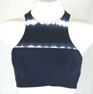 Aerie AE Women's Navy Tie-dye Racerback Activewear Hi-neck Crop Top Size Small