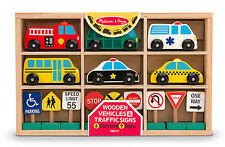 Melissa & Doug Wooden Vehicles and Traffic Signs #3177 -New