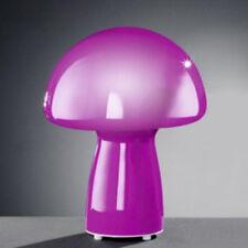 Tischleuchte Nador in Pilzform aus Glas Pink Nachttischlampe Purpur Leuchte