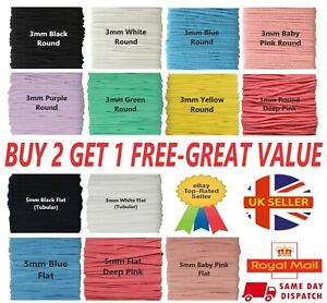 ELASTIC CORD 3mm 5mm ROUND FLAT Sewing Craft Masks Many Colours !  GREAT VALUE !