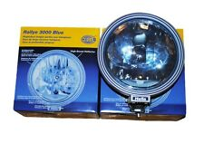 New 2 Pcs Hella 3000 Blue Driving Spot/Fog Lamp (12V/55W) With Side Light Rally