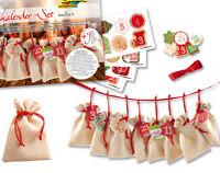 Kit to Make Christmas Advent Calendar Gift Bags - Natural