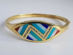 14K Gold Bangle Bracelet Turquoise Coral Lapis MOP Diamond-Estate Jewelry 28.7gm