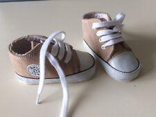 Chaussures Basket Fille Garcon Mixte Beige et Blanc Taille 17/18 Cuir Bout Chou