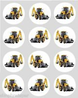 12 Digger Yellow Edible Cupcake Decoration Cake Rice Paper Toppers 40mm PRE CUT