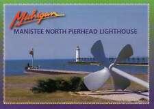 Manistee North Pierhead Lighthouse, MI, Propeller, Lake Michigan --- Postcard