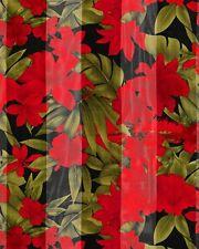 "Red Floral on Black  Background  Satin Stripe 13"" x 60 Long Scarf"