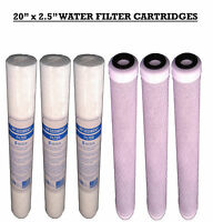 """20"""" Reverse Osmosis Water Filters, Water Fed Pole , PP Sediment and Carbon x6"""