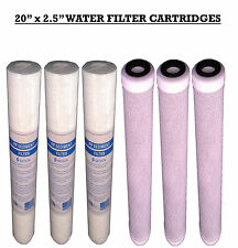 "20"" Reverse Osmosis Water Filters, Water Fed Pole , PP Sediment and Carbon x6"