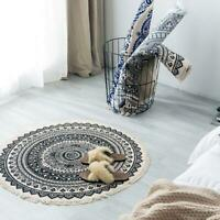 Morocco Round Rug Boho Style Tassel Cotton Fabric Carpet Mat Door Blanket Decor
