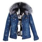 Hot Women's Fur Denim Jacket Jean Short Coat GENUINE Fox Lining & Raccoon Collar