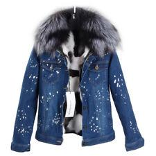 Women's Fur Denim Jacket Jean Short Coat w/ GENUINE Fox Lining & Raccoon Collar