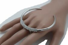 Cuff Sexy Fashion Jewelry Band Size 7 Women Silver Metal Ring Large Moon Crecent