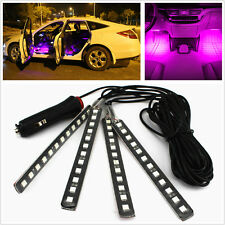 Car SUV Interior Decorative Glow Neon Lamp 12LED Purple Atmosphere Light Strips