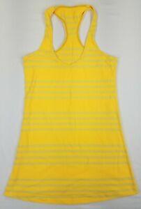 Lululemon Women's Size 6 Cool Racerback Striped Tank Top Mellow Yellow B5