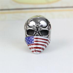 Men'S 316L Stainless Steel Vogue Design Usa Flag Pattern Skull Ring Size 10