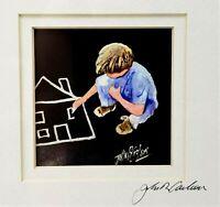 John R Carlson Framed Art Print Signed Boy Drawing Watercolor Alabama Artist