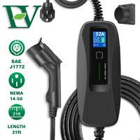 EV Charging Cable 32A Level 2 Electric Car Portable Charger NEMA14-50 J1772 EVSE