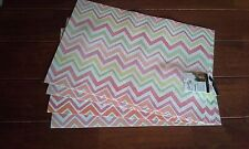 4 SPRING TIME FIESTA placemat ZIG ZAG flamingo tangerine INDOOR outdoor NEW