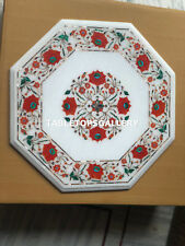"""18"""" White Marble Coffee Table Top Carnelian Floral Inlay Stone Home Decor E148"""