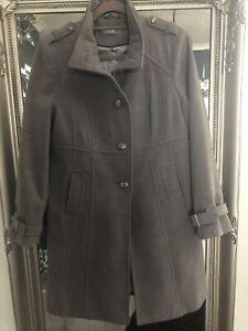Wallis Coat Size 14 Light Grey Military Style Smart Warm Single Breasted Pockets