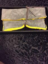 TopShop Gray Yellow Shearling Clutch Wrap Tie Purse Bag