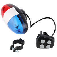 Bike Bicycle Cycling 4 Sounds LED Police Car Siren Electric Light Horn Bell Hot