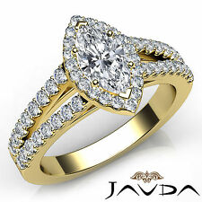 Halo Prong Set Marquise Diamond Engagement Ring GIA F VS1 18k Yellow Gold 1.97Ct