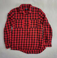 Madewell Womens Long Sleeve Button Up Flannel Shirt Red / Black Plaid Size Small