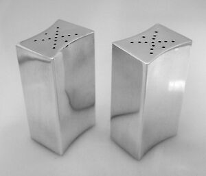 Allan Adler Sterling Silver Modernist Salt Pepper Shakers  1950