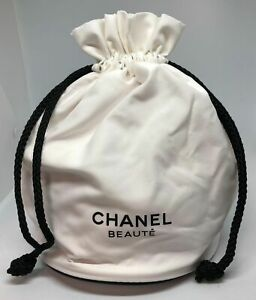 Chanel Beaute White Cosmetic Makeup Accessories Drawstring Pouch Bag - New