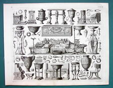 ROMAN Utensils Artifacts Dinner Urns Furniture - 1844 Antique Print Engraving