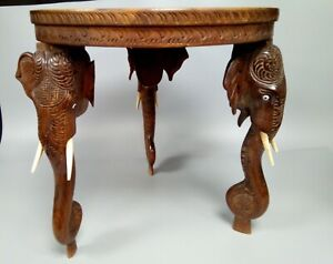 Hand Carved Anglo-Indian Dark Wooden Side Table with Elephant Head Legs