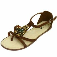 WOMENS BROWN FLAT BEADED SANDALS SHOES T-BAR TOE-POST GLADIATOR SHOES UK 3-9
