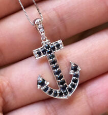 10k White Gold Natural Blue Sapphire Diamond Anchor Pendant Necklace box chain