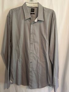 Hugo Boss Shirt Sz XXL Long Sleeve Gray Checks Slim Fit Stretch Cotton $128