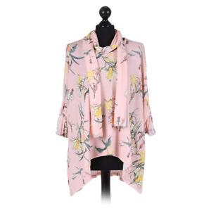 Italian Lagenlook Fine Knit Pale Pink Floral Top & Scarf from Timeless Season